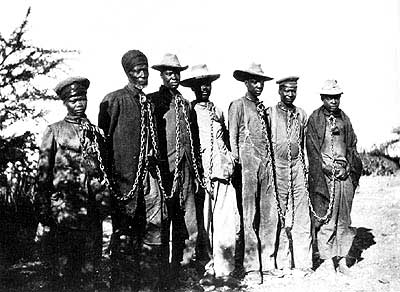 Herero chained during the 1904 rebellion.